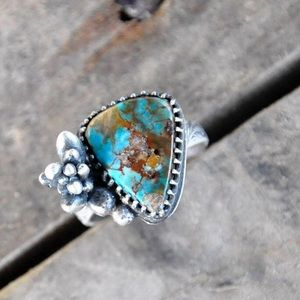NWOT OOAK Turquoise succulent sterling silver ring